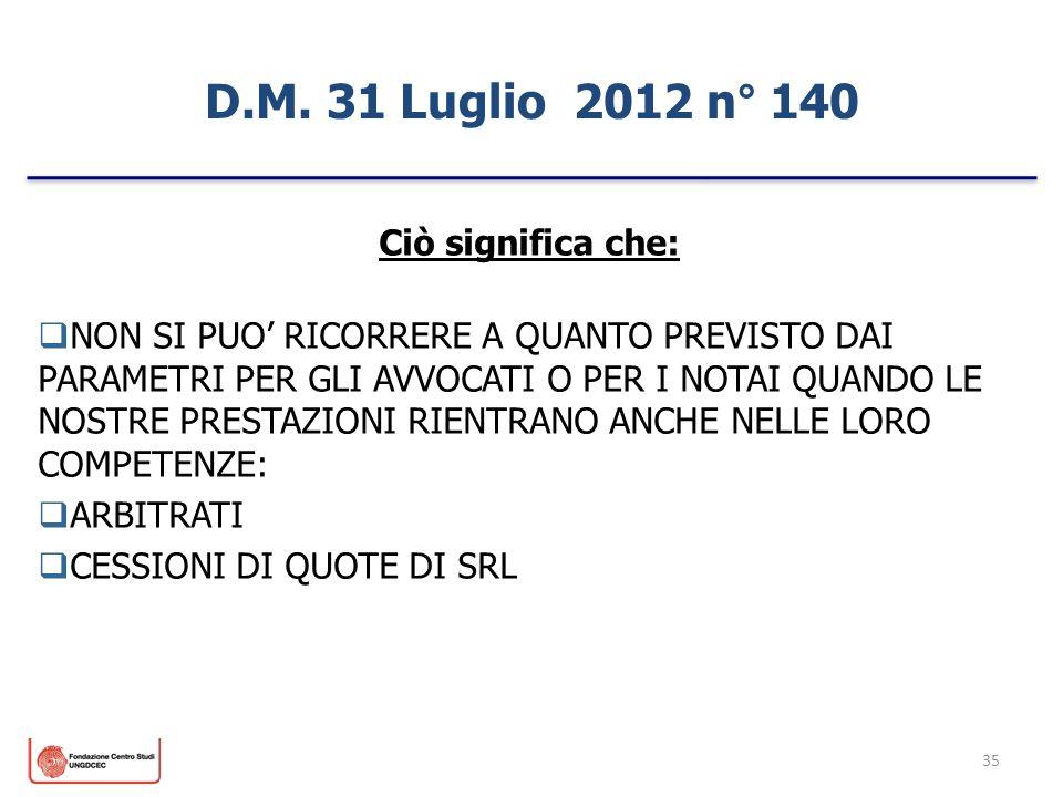 D.M. 31 Luglio 2012 n° 140 Ciò significa che: