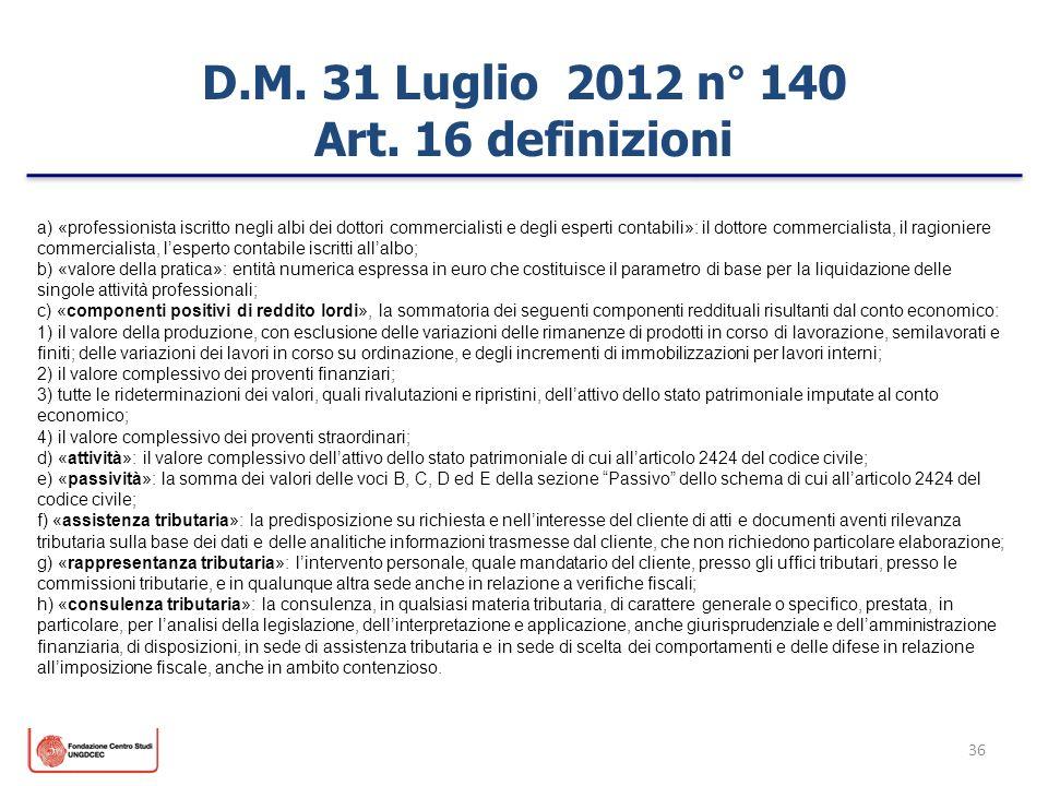 D.M. 31 Luglio 2012 n° 140 Art. 16 definizioni