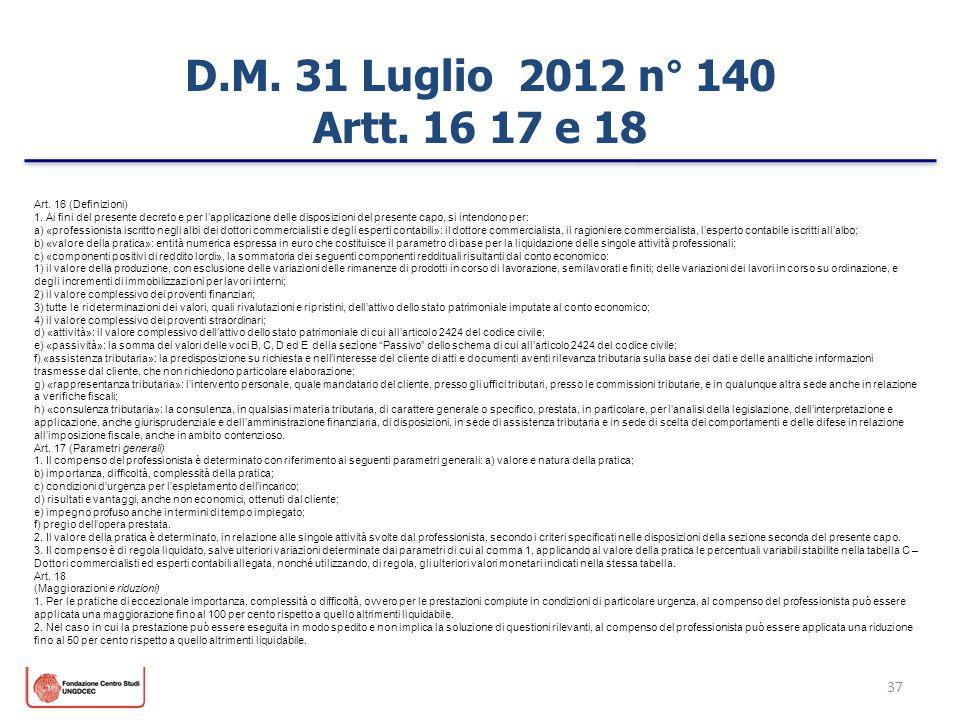 D.M. 31 Luglio 2012 n° 140 Artt. 16 17 e 18 Art. 16 (Definizioni)