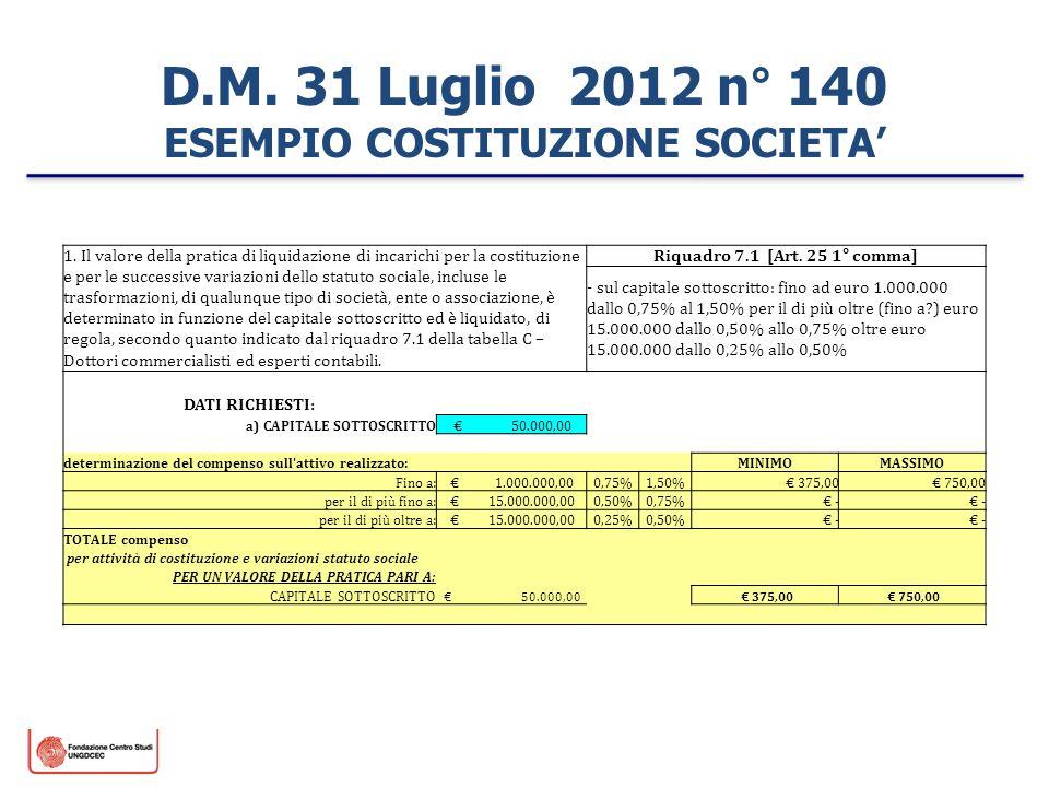 D.M. 31 Luglio 2012 n° 140 ESEMPIO COSTITUZIONE SOCIETA'