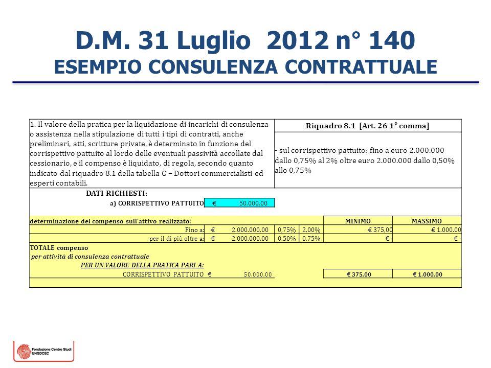 D.M. 31 Luglio 2012 n° 140 ESEMPIO CONSULENZA CONTRATTUALE