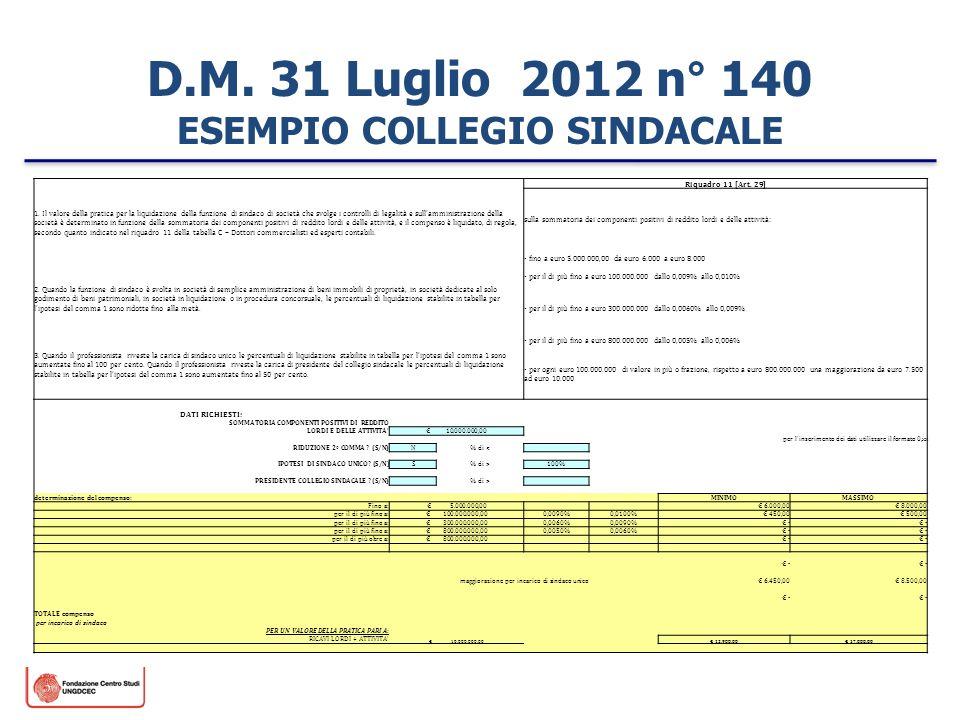 D.M. 31 Luglio 2012 n° 140 ESEMPIO COLLEGIO SINDACALE