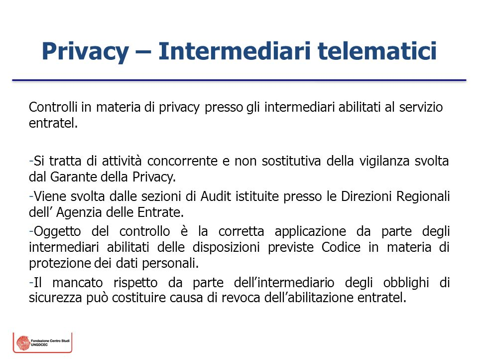 Privacy – Intermediari telematici