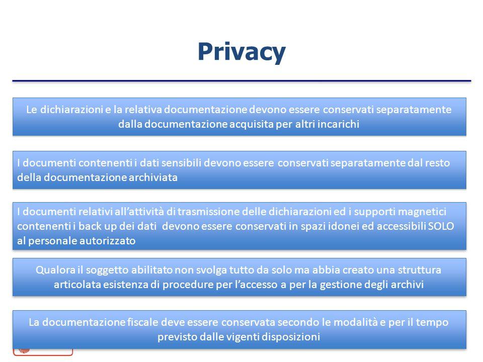 Privacy Le dichiarazioni e la relativa documentazione devono essere conservati separatamente dalla documentazione acquisita per altri incarichi.