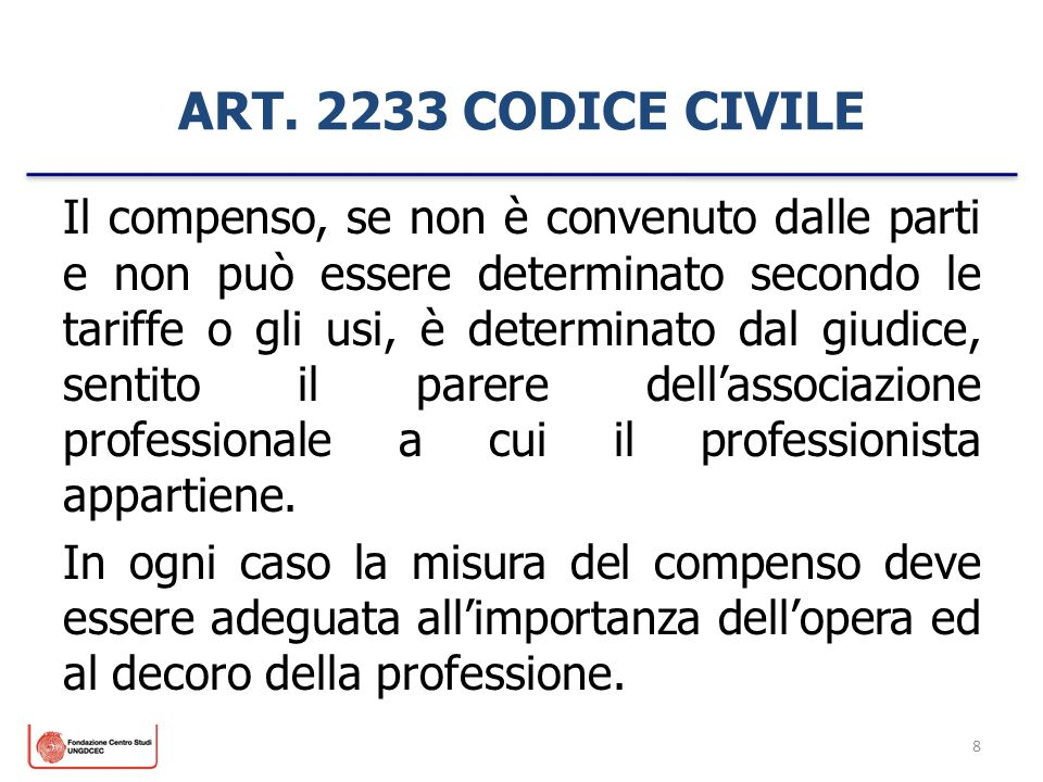 ART. 2233 CODICE CIVILE