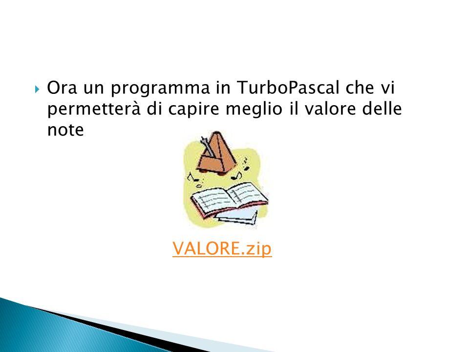 Ora un programma in TurboPascal che vi permetterà di capire meglio il valore delle note