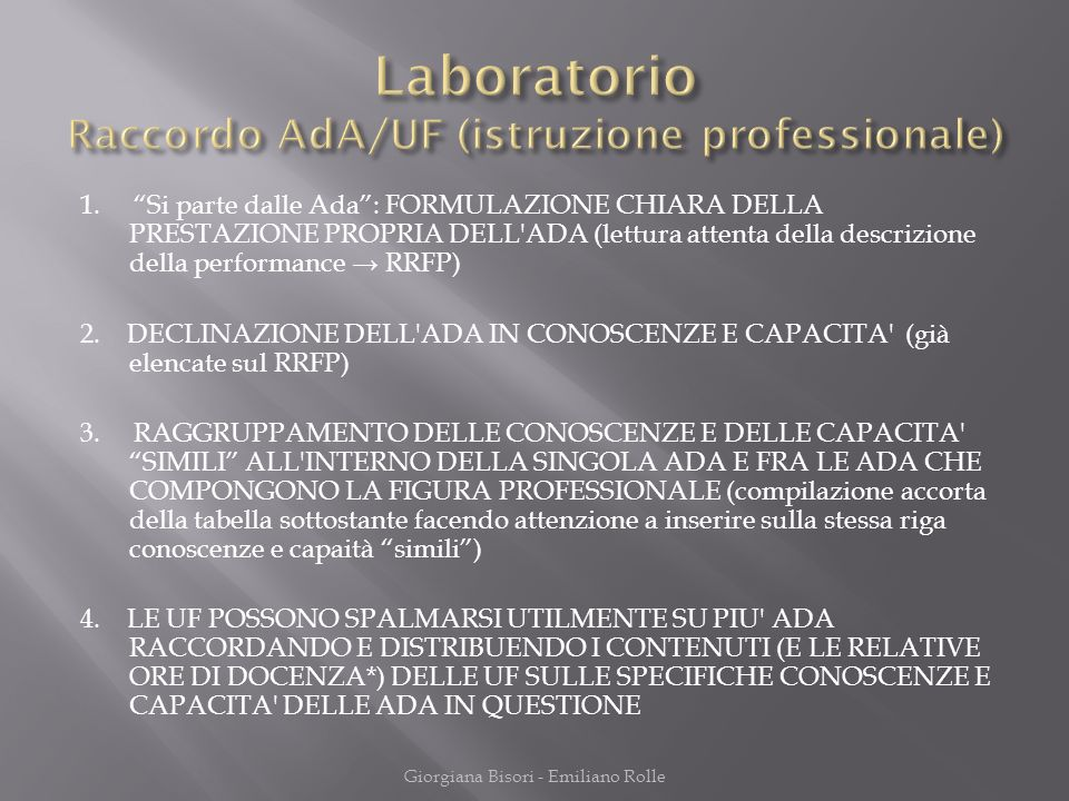Laboratorio Raccordo AdA/UF (istruzione professionale)
