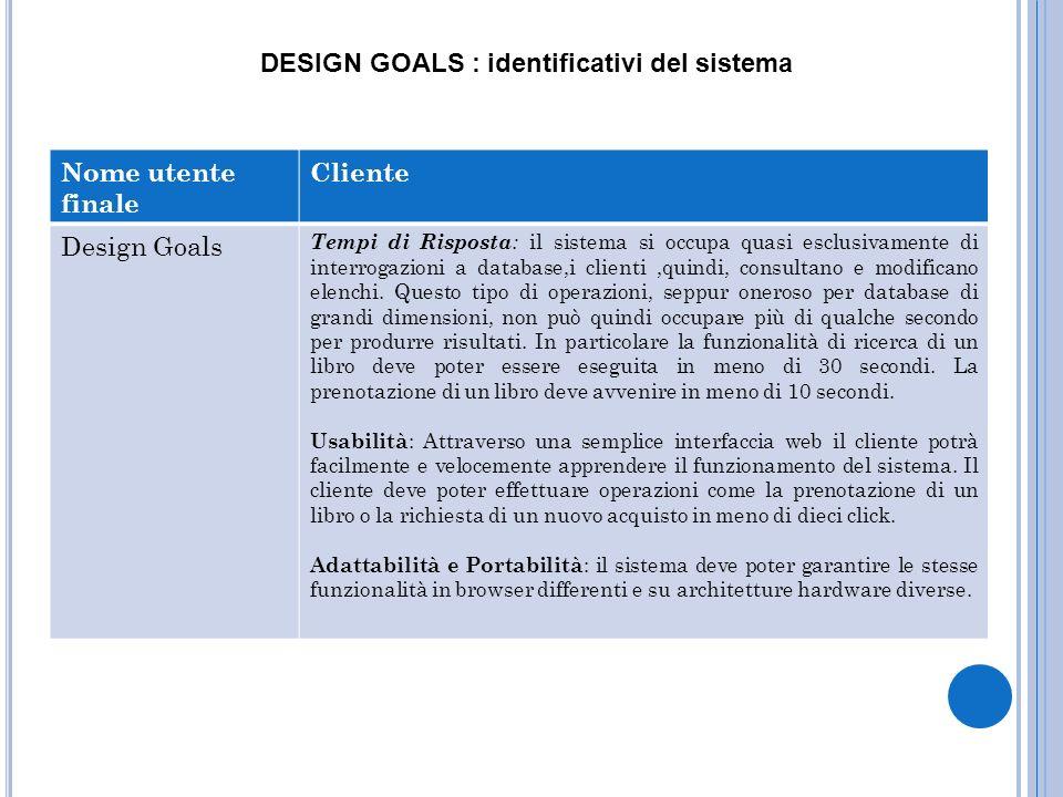 DESIGN GOALS : identificativi del sistema Nome utente finale Cliente