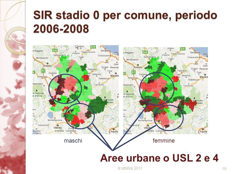 SIR stadio 0 per comune, periodo 2006-2008