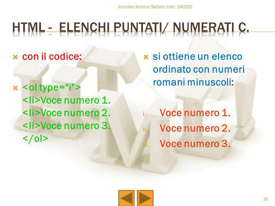 Html - elenchi puntati/ numerati c.