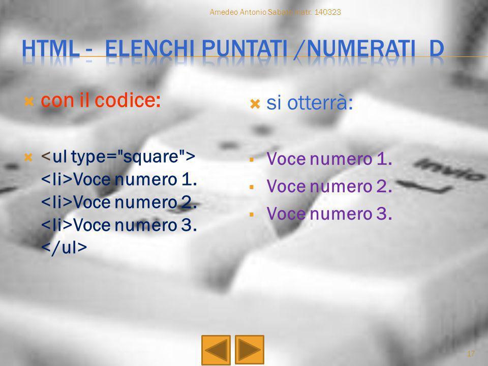 Html - elenchi puntati /numerati d
