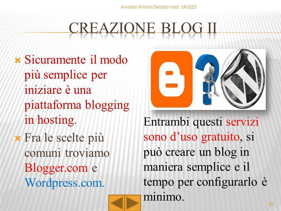 CORSO D INFORMATICA Amedeo Antonio Sabato matr. 140323. CREAZIONE BLOG ii.