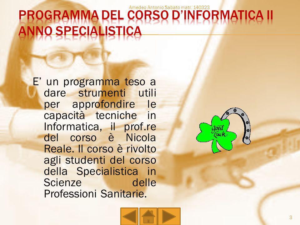 Programma del corso d'informatica II anno Specialistica