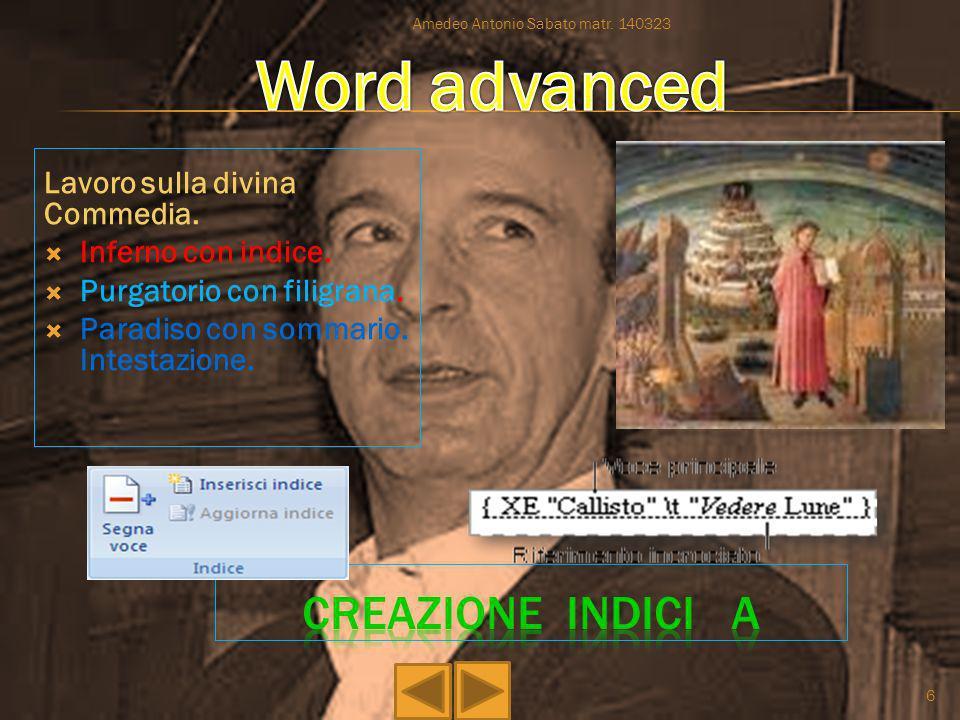 Word advanced creazione indici a Lavoro sulla divina Commedia.