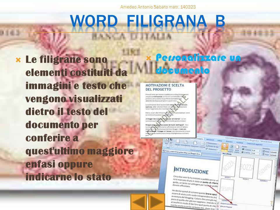 Word filigrana b Personalizzare un documento
