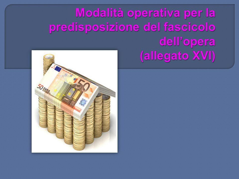 Modalità operativa per la predisposizione del fascicolo dell'opera (allegato XVI)