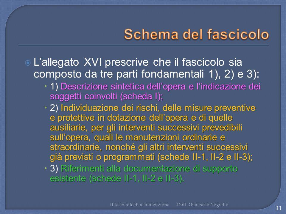 Schema del fascicolo L'allegato XVI prescrive che il fascicolo sia composto da tre parti fondamentali 1), 2) e 3):