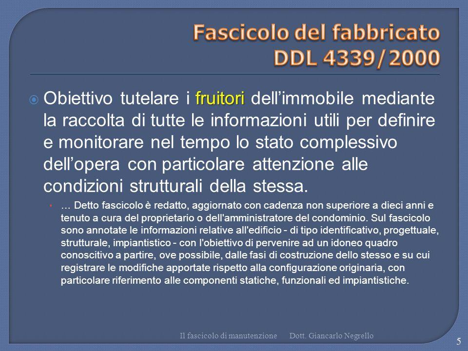 Fascicolo del fabbricato DDL 4339/2000