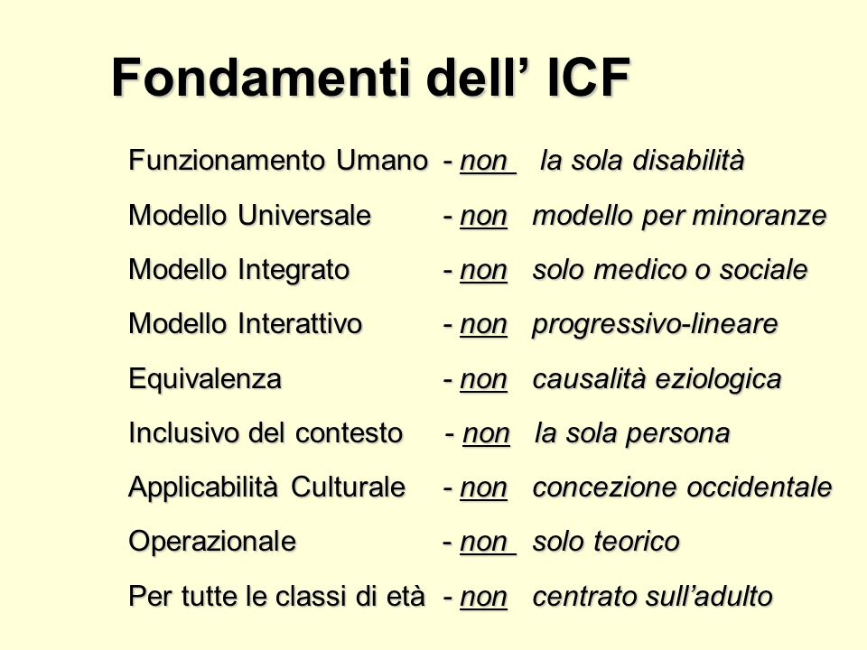 Fondamenti dell' ICF Funzionamento Umano - non la sola disabilità