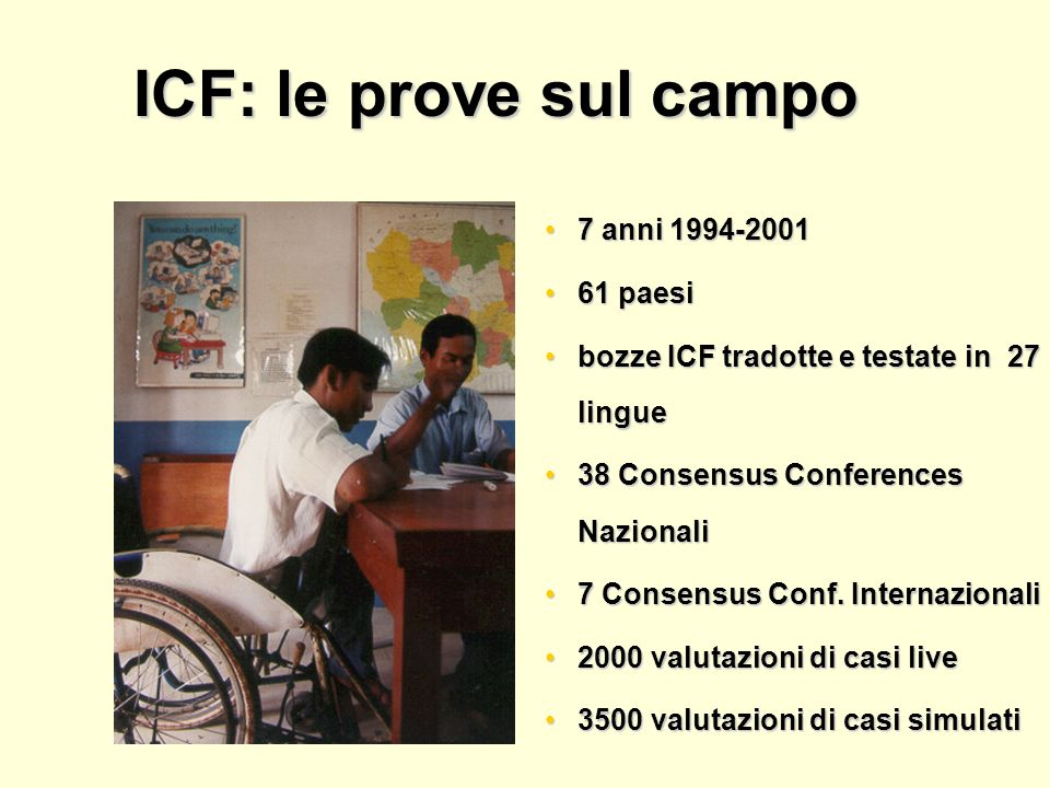 ICF: le prove sul campo 7 anni 1994-2001 61 paesi