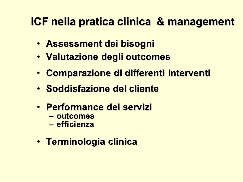 ICF nella pratica clinica & management