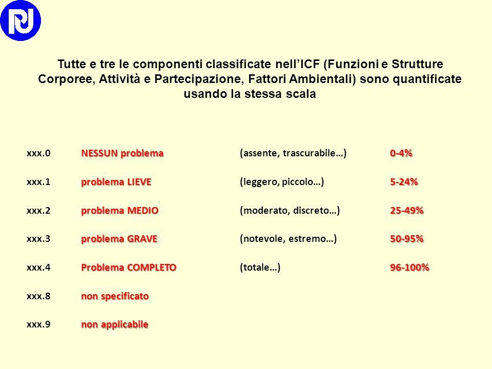 Tutte e tre le componenti classificate nell'ICF (Funzioni e Strutture Corporee, Attività e Partecipazione, Fattori Ambientali) sono quantificate usando la stessa scala