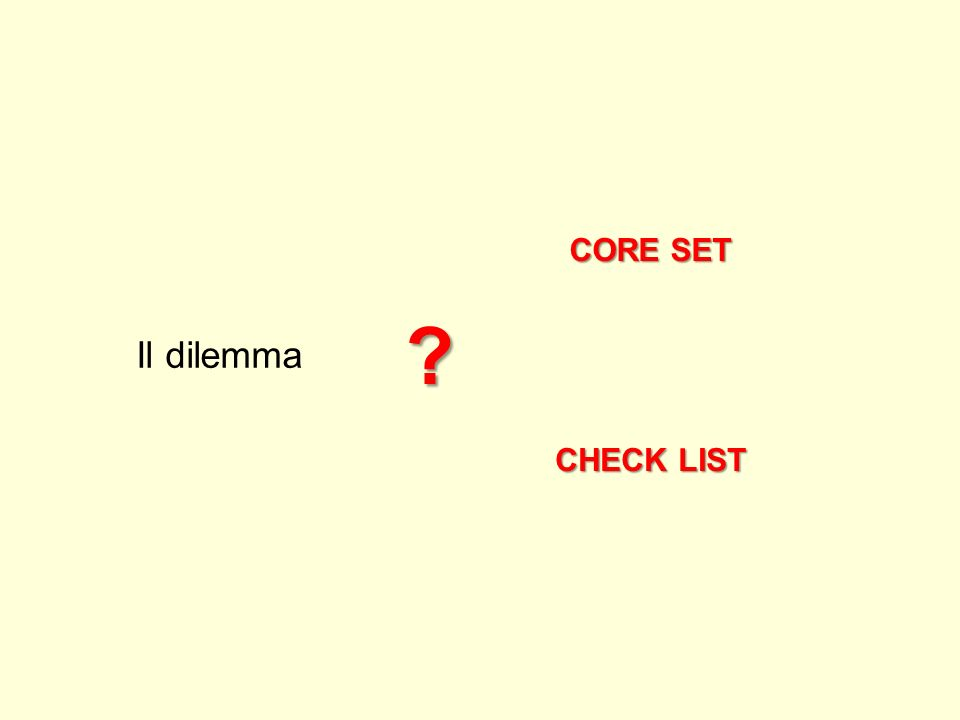 CORE SET CHECK LIST Il dilemma