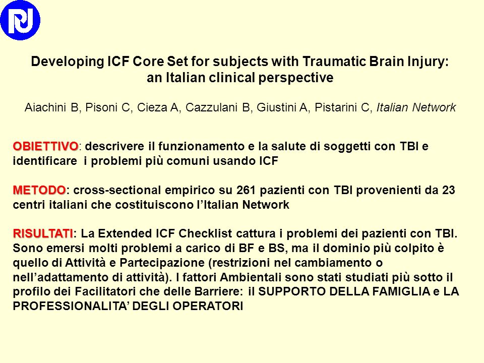 Developing ICF Core Set for subjects with Traumatic Brain Injury: an Italian clinical perspective