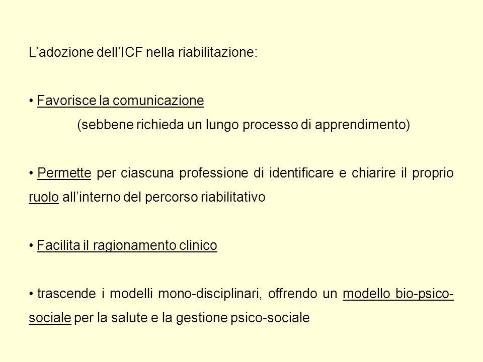 L'adozione dell'ICF nella riabilitazione: