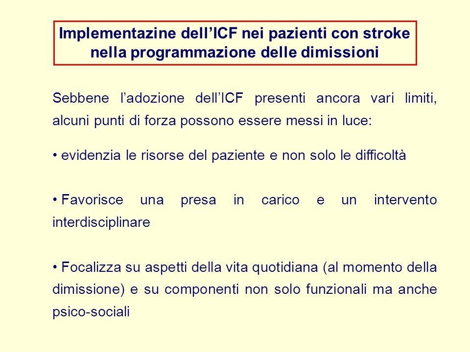 Implementazine dell'ICF nei pazienti con stroke