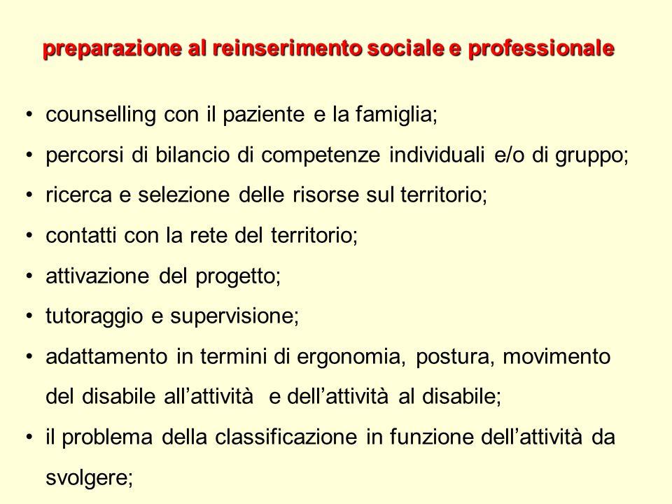 preparazione al reinserimento sociale e professionale