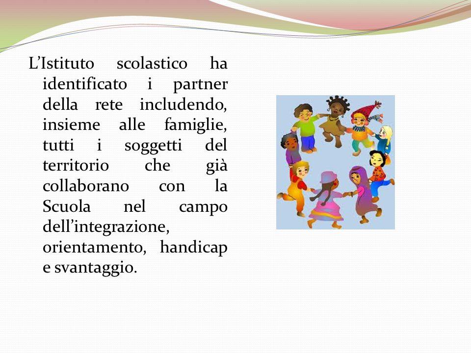 L'Istituto scolastico ha identificato i partner della rete includendo, insieme alle famiglie, tutti i soggetti del territorio che già collaborano con la Scuola nel campo dell'integrazione, orientamento, handicap e svantaggio.