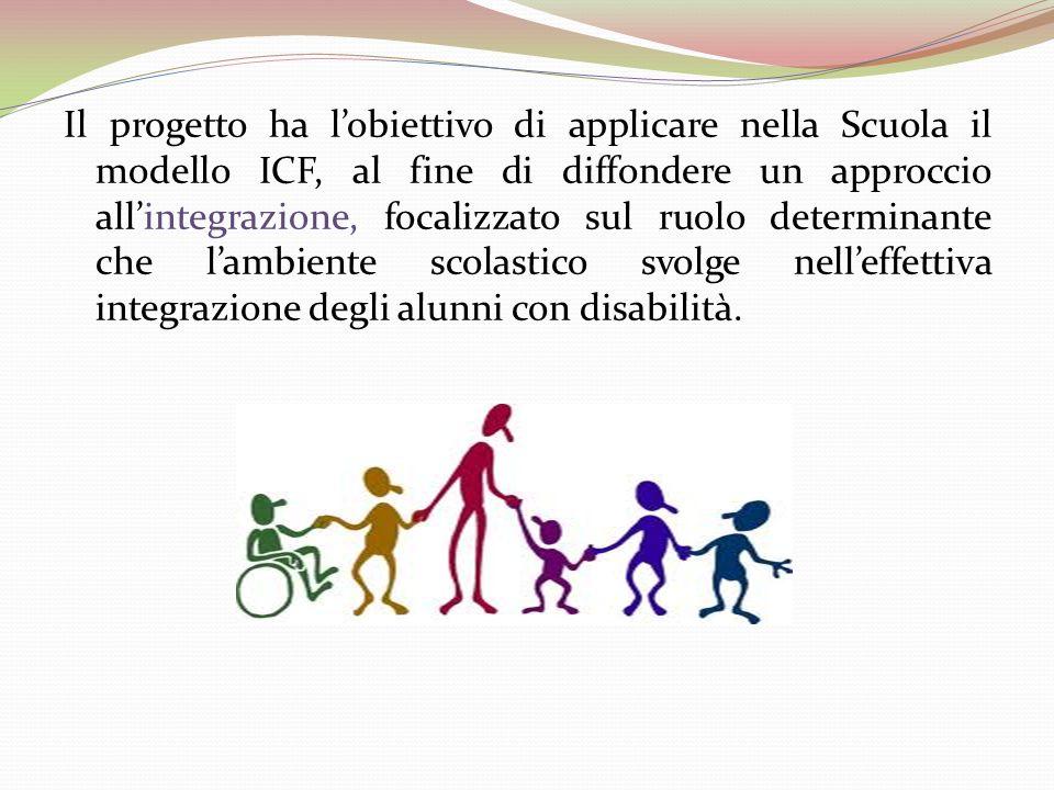 Il progetto ha l'obiettivo di applicare nella Scuola il modello ICF, al fine di diffondere un approccio all'integrazione, focalizzato sul ruolo determinante che l'ambiente scolastico svolge nell'effettiva integrazione degli alunni con disabilità.
