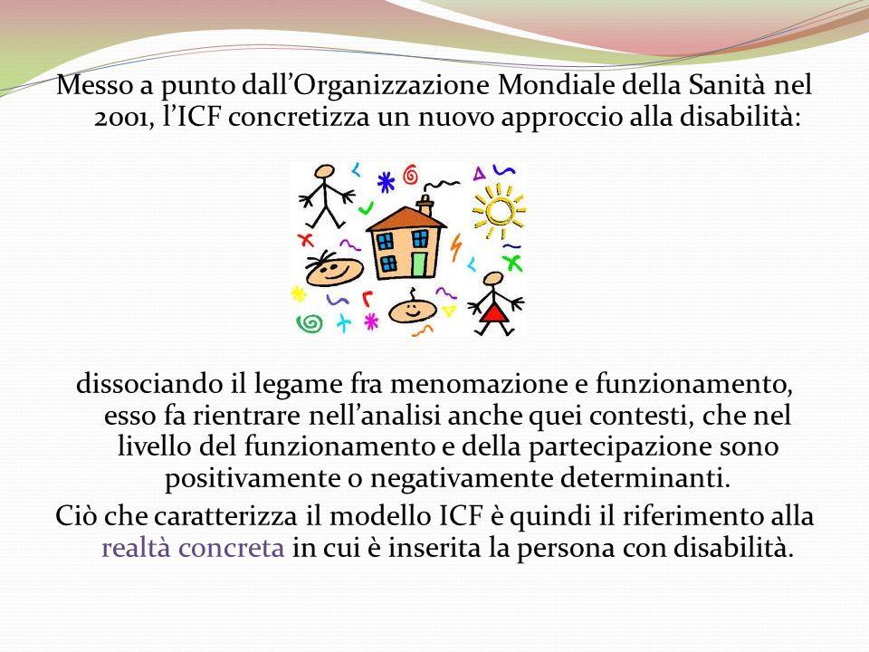 Messo a punto dall'Organizzazione Mondiale della Sanità nel 2001, l'ICF concretizza un nuovo approccio alla disabilità: