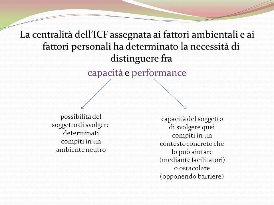 La centralità dell'ICF assegnata ai fattori ambientali e ai fattori personali ha determinato la necessità di distinguere fra capacità e performance