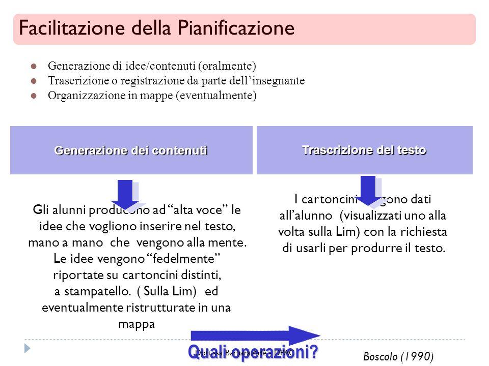 Generazione dei contenuti Trascrizione del testo