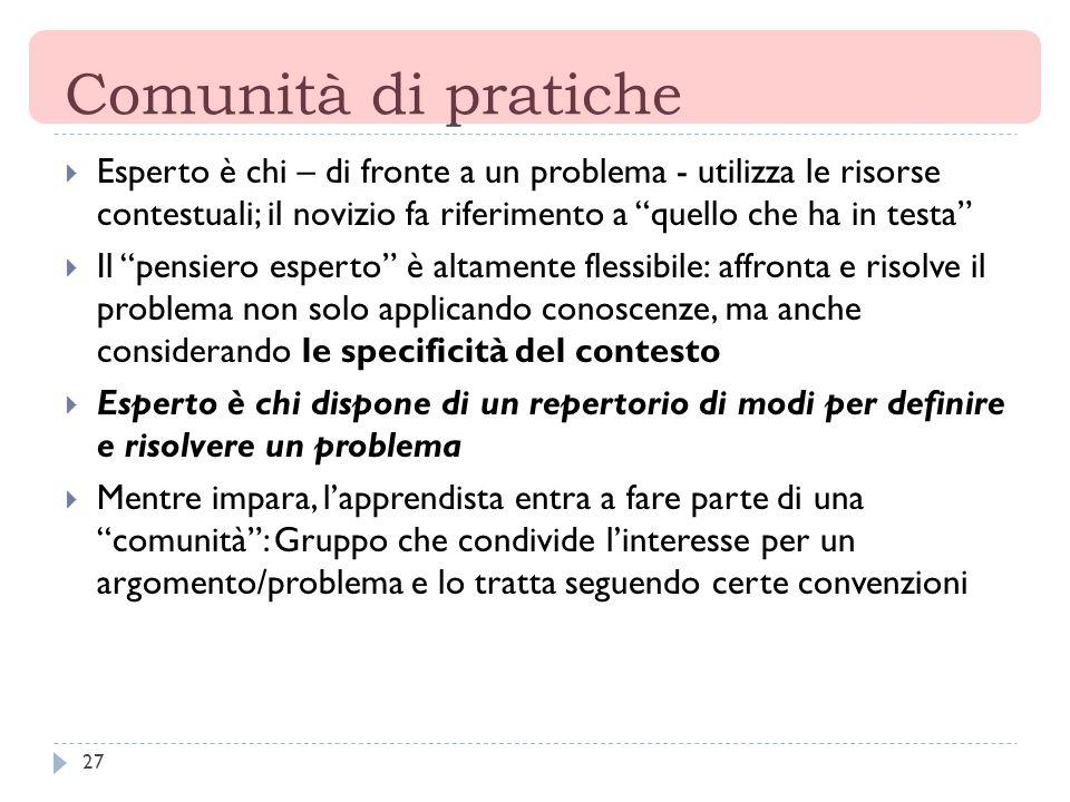 Comunità di pratiche Esperto è chi – di fronte a un problema - utilizza le risorse contestuali; il novizio fa riferimento a quello che ha in testa