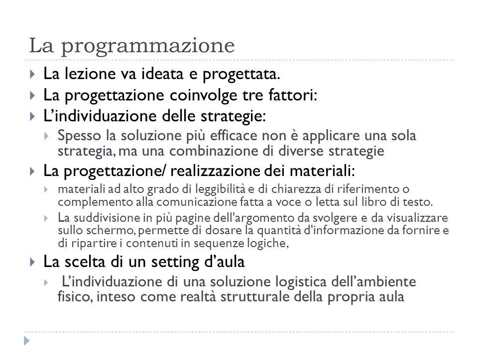 La programmazione La lezione va ideata e progettata.