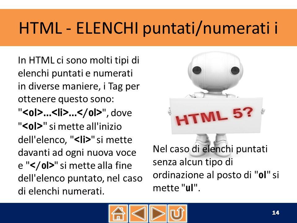 HTML - ELENCHI puntati/numerati i