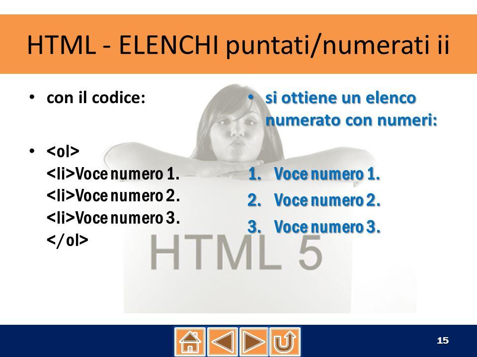 HTML - ELENCHI puntati/numerati ii