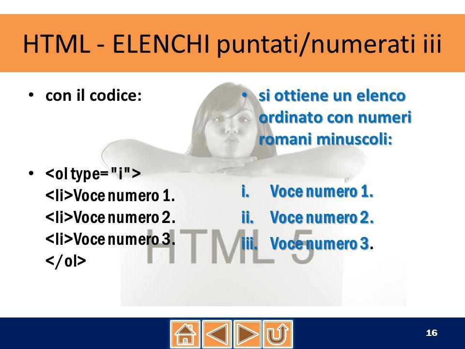 HTML - ELENCHI puntati/numerati iii