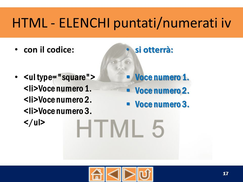 HTML - ELENCHI puntati/numerati iv