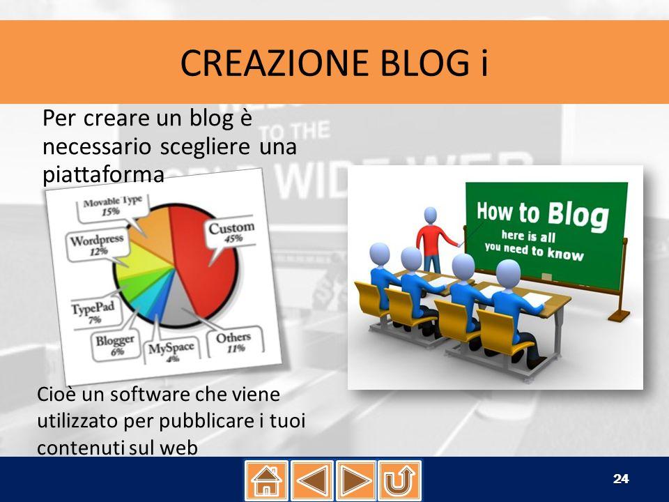 CREAZIONE BLOG i Per creare un blog è necessario scegliere una piattaforma.