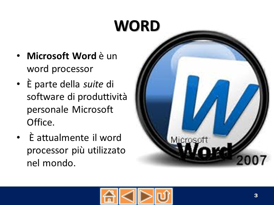 WORD Microsoft Word è un word processor