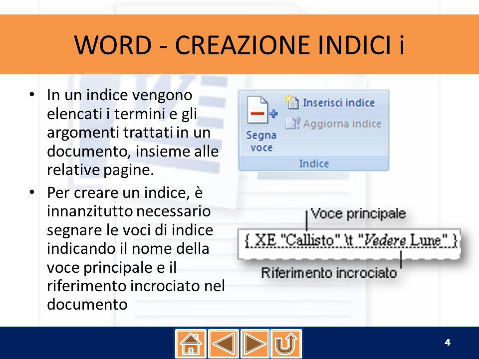 WORD - CREAZIONE INDICI i