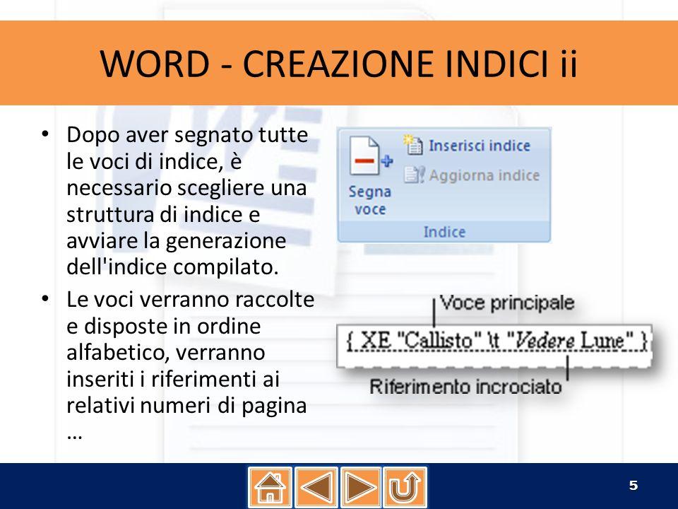 WORD - CREAZIONE INDICI ii