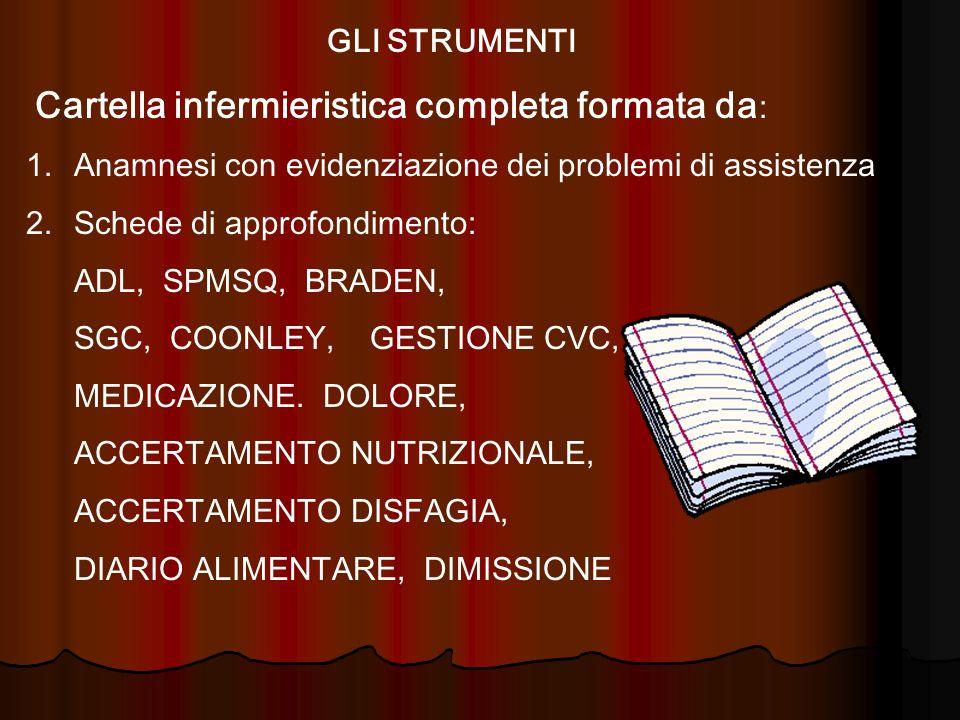 GLI STRUMENTI Cartella infermieristica completa formata da: Anamnesi con evidenziazione dei problemi di assistenza.