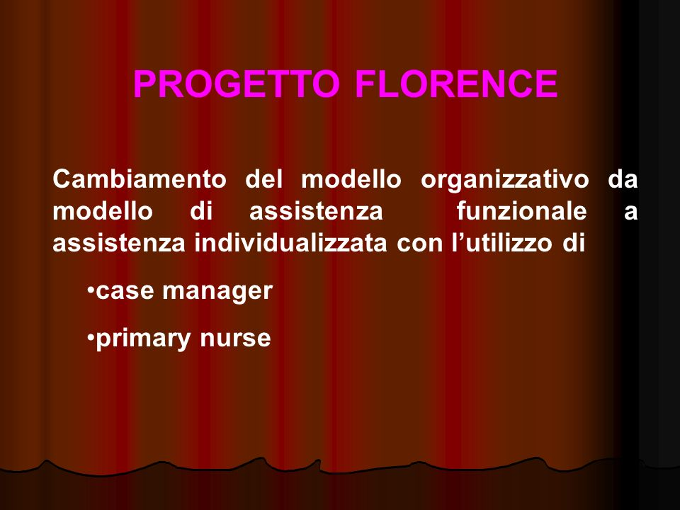 PROGETTO FLORENCE Cambiamento del modello organizzativo da modello di assistenza funzionale a assistenza individualizzata con l'utilizzo di.