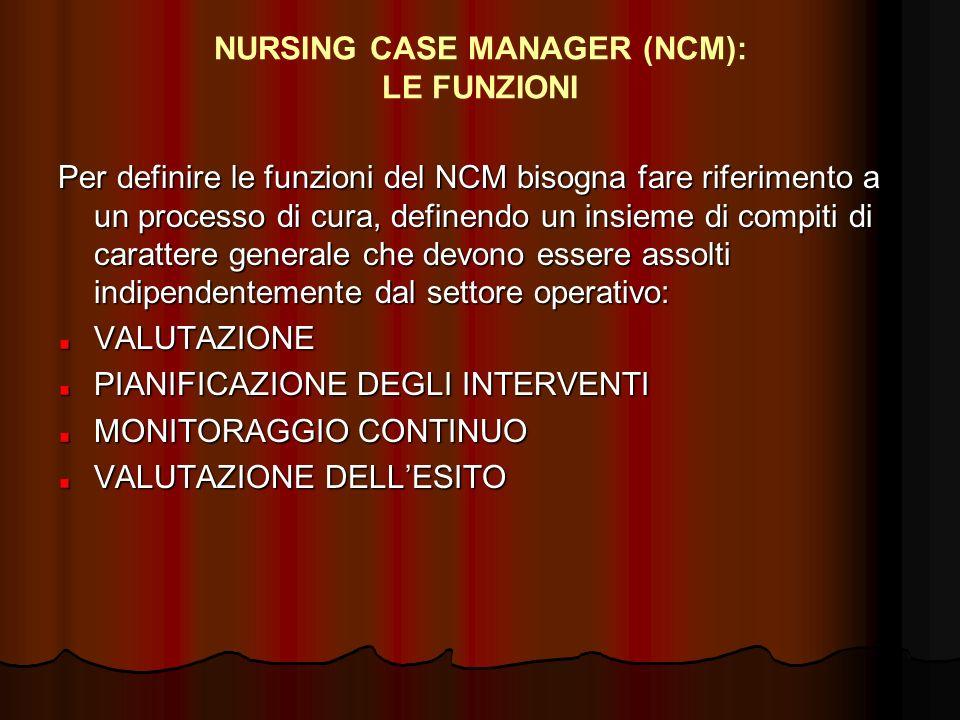 NURSING CASE MANAGER (NCM): LE FUNZIONI