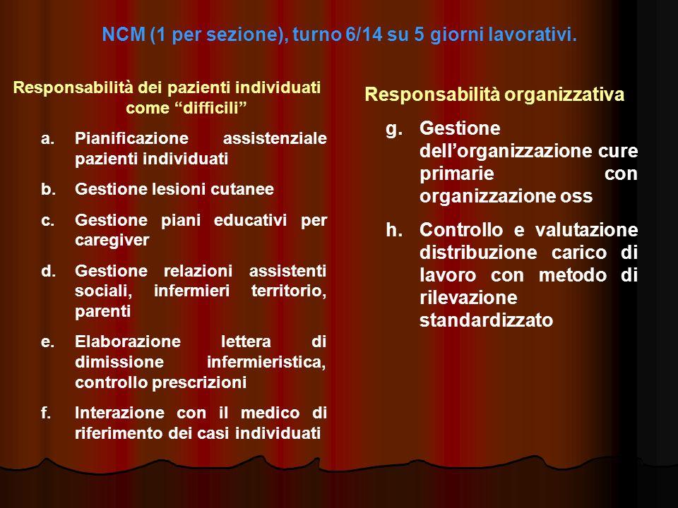 NCM (1 per sezione), turno 6/14 su 5 giorni lavorativi.